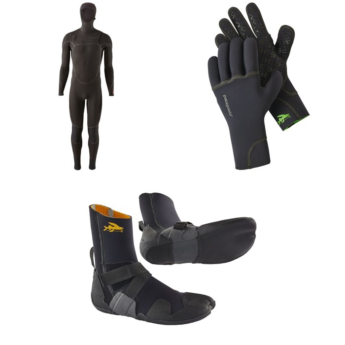 Patagonia - R4 Yulex Front Zip Hooded Wetsuit + Patagonia R2 Yulex Wetsuit Gloves + Patagonia R3 Yulex Split Toe Wetsuit Boots
