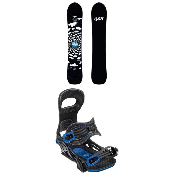 GNU - Antigravity x evo Snowboard + Bent Metal Transfer Snowboard Bindings 2019
