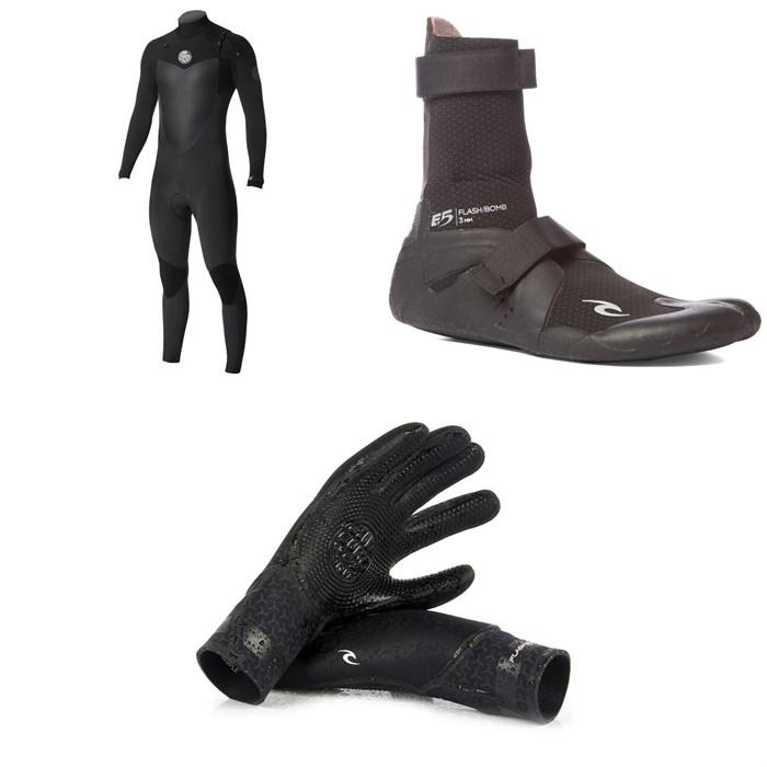 Rip Curl - 4/3 Flashbomb Chest Zip Wetsuit + Rip Curl 3mm Flashbomb Hidden Split Toe BootsRip Curl 3/2 Flashbomb Gloves