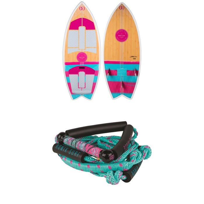 "Ronix - Koal Technora Fish Wakesurf Board + 10"" Surf Handle + 25 ft Bungee Surf Rope - Women's 2019"