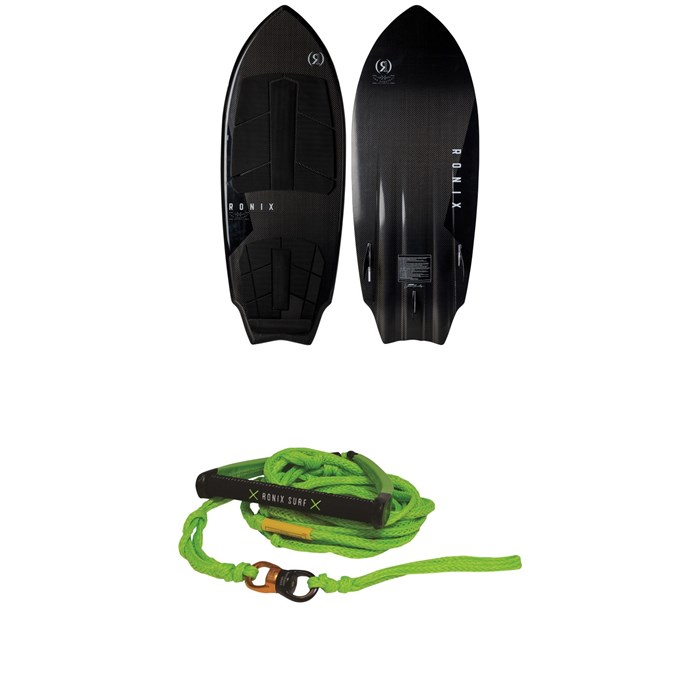 """Ronix - Carbon Air Core 3 Sprocket Wakesurf Board + 10"""" Surf Handle & 25 ft Spinner Surf Rope 2019"""