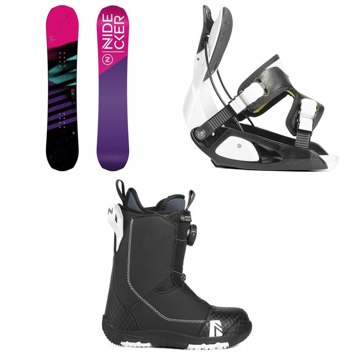 Nidecker - Flake Snowboard - Girls' + Flow Micron Snowboard Bindings - Little Kids' + Nidecker Micron Boa Snowboard Boots 2019