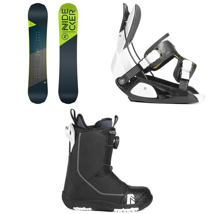 Nidecker - Prosper Snowboard - Kids' + Flow Micron Snowboard Bindings - Little Kids' + Nidecker Micron Boa Snowboard Boots 2019