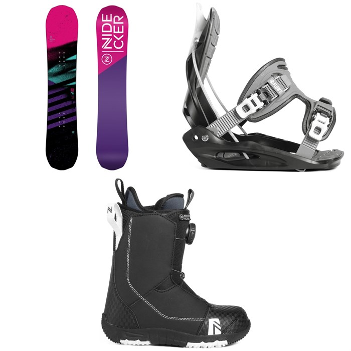 Nidecker - Flake Snowboard - Girls' + Flow Micron Youth Snowboard Bindings + Nidecker Micron Boa Snowboard Boots 2019