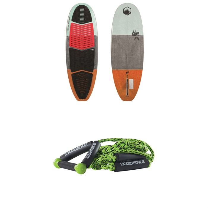 "Liquid Force - El Guapo Wakesurf Board + 9"" Handle + Knotted Surf Rope"