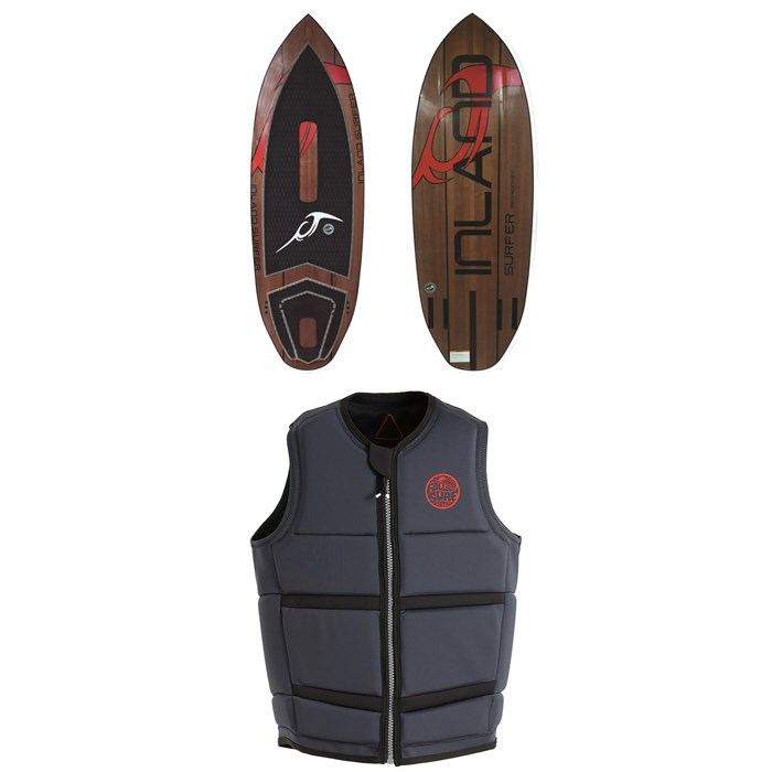 Inland Surfer - Red Rocket Wakesurf Board + Follow Surf Edition Plus Wake Vest 2019