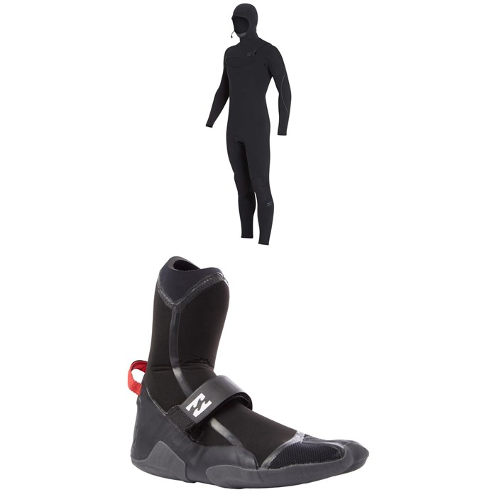 Billabong - 4/3 Furnace Carbon Hooded Chest Zip Wetsuit + 5MM Furnace Carbon X Split Toe Boots