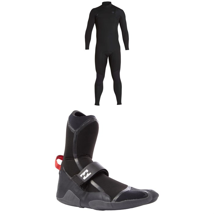 Billabong - 4/3 Furnace Absolute Comp Chest Zip Wetsuit + 5MM Furnace Carbon X Split Toe Boots