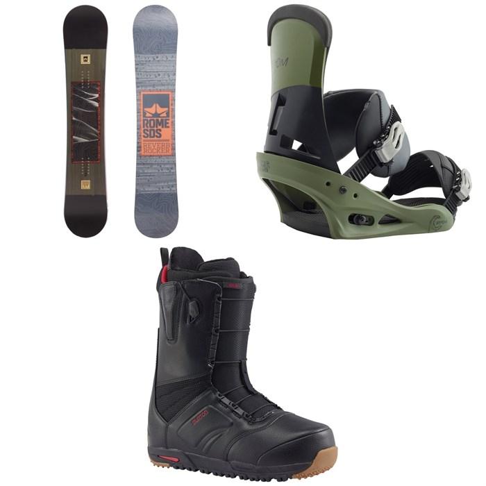 Rome - Reverb Rocker SE Snowboard + Burton Custom Snowboard Bindings + Burton Ruler Snowboard Boots 2018