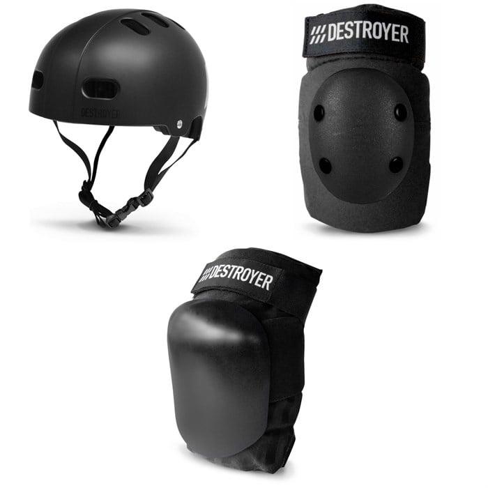Destroyer - Certified Skateboard Helmet + Elbow Pads + P Series Skateboard Knee Pads