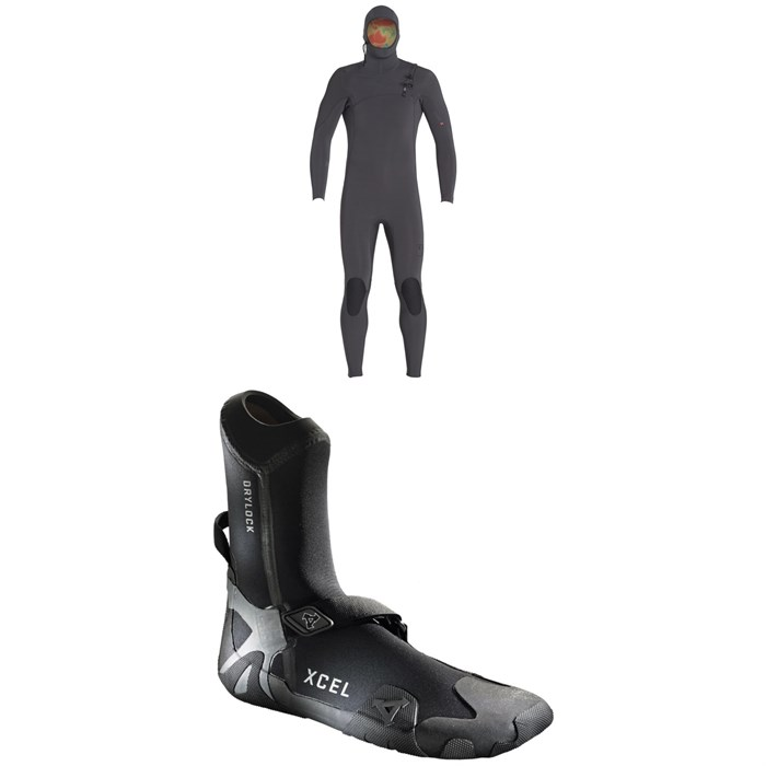 XCEL - 4.5/3.5 Comp X TDC Hooded Wetsuit + XCEL 5mm Drylock Celliant Round Toe Boots