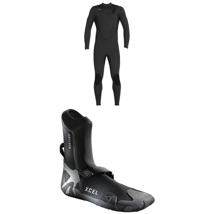 XCEL - 4/3 Comp Thermo Lite Wetsuit + XCEL 3mm Drylock Celliant Round Toe Boots