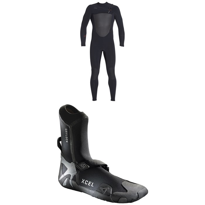 XCEL - 4/3 Drylock Celliant Wetsuit + XCEL 5mm Drylock Celliant Round Toe Boots