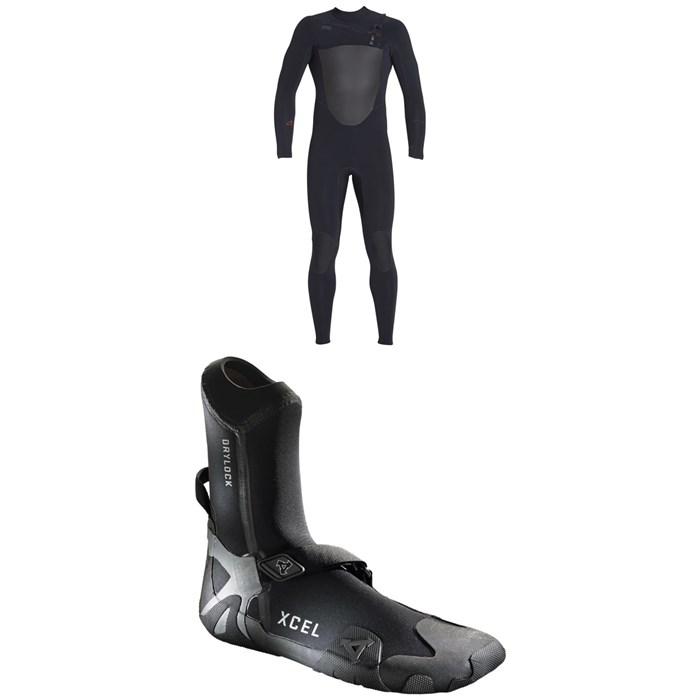 XCEL - 4/3 Drylock Celliant Wetsuit + XCEL 3mm Drylock Celliant Round Toe Boots