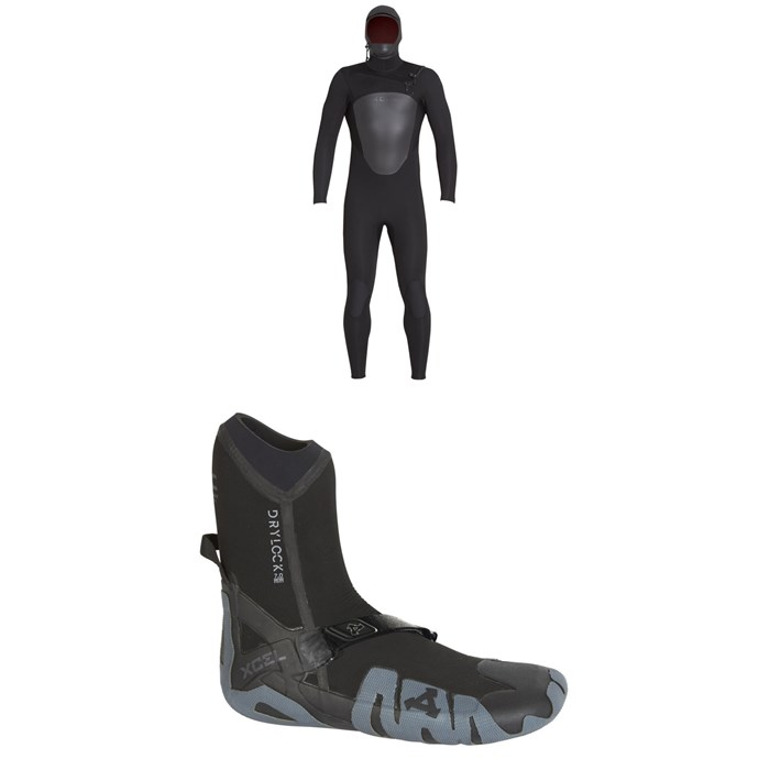 XCEL - 5/4 Axis Hooded Wetsuit + XCEL 7mm Drylock Celliant Round Toe Boots