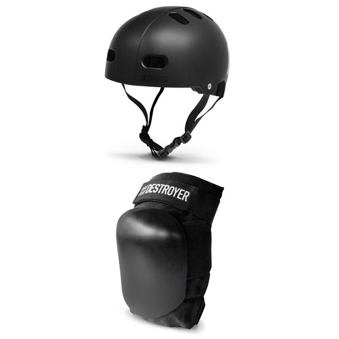 Destroyer - Certified Skateboard Helmet + Destroyer P Series Skateboard Knee Pads