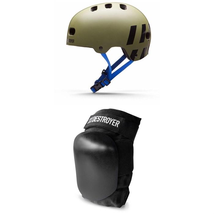 Destroyer - Multi-Impact Skateboard Helmet + Destroyer P Series Skateboard Knee Pads