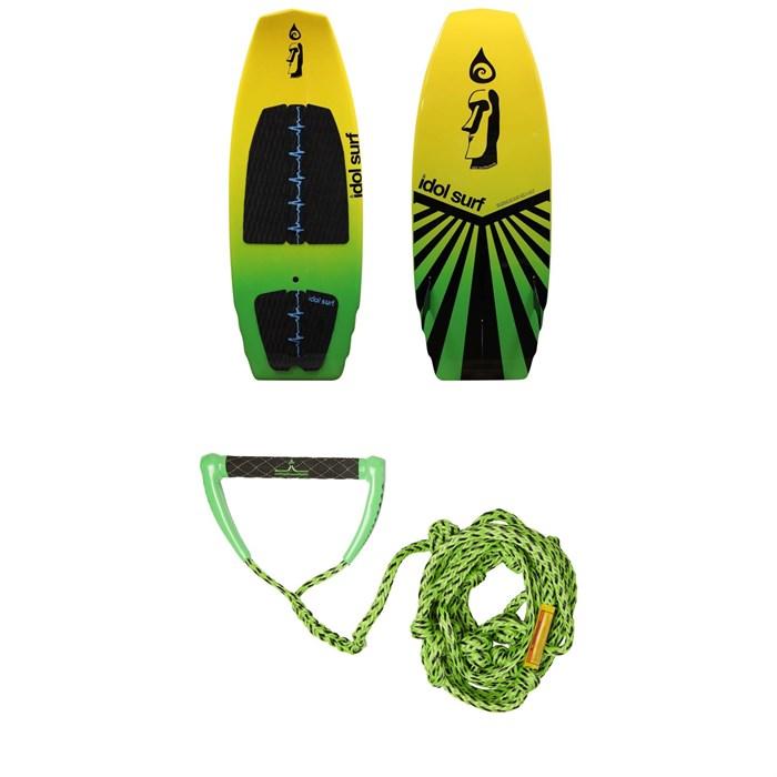 Idol Surf - Shovel Wakesurf Board + Proline x evo LGS Surf Handle w/ 25 ft Air Line