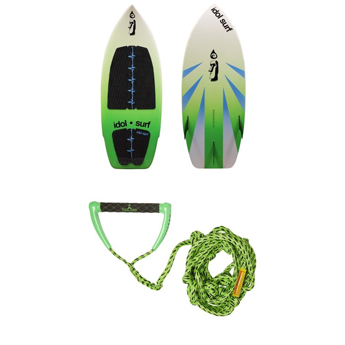 Idol Surf - Twist Wakesurf Board + Proline x evo LGS Surf Handle w/ 25 ft Air Line 2019