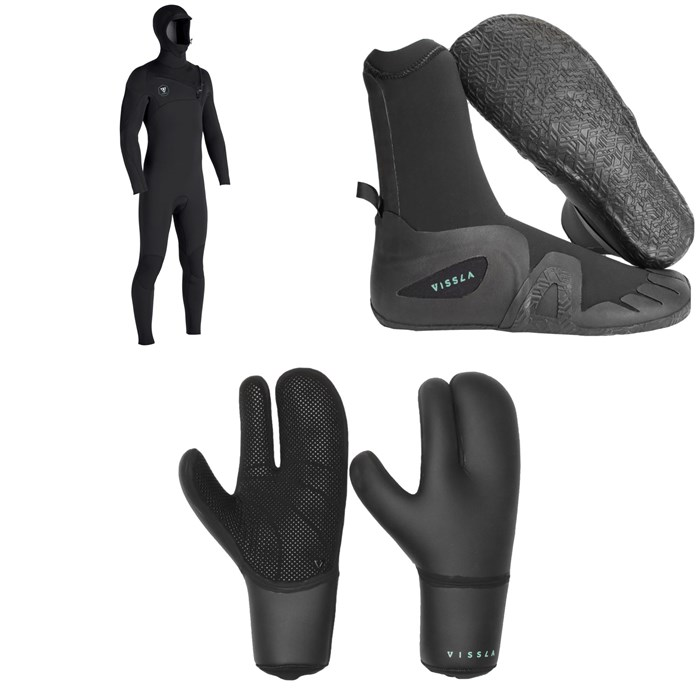 Vissla - 7 Seas 5/4/3 Hooded Chest Zip Wetsuit + 7 Seas 5mm Round Toe Boots + 7 Seas 5mm Claw Gloves