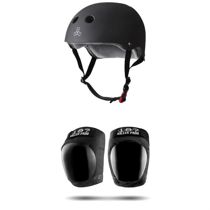 Triple 8 - The Certified Sweatsaver Skateboard Helmet + 187 Pro Skateboard Knee Pads