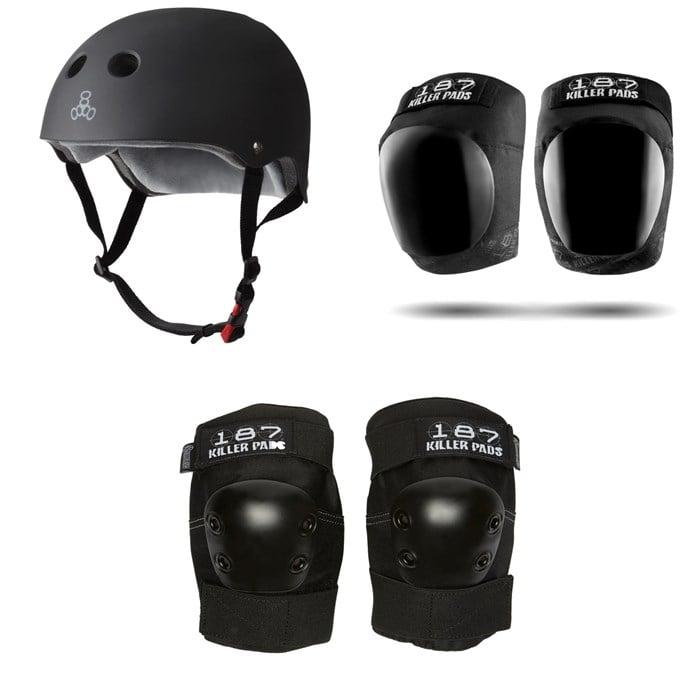 Triple 8 - The Certified Sweatsaver Skateboard Helmet + 187 Pro Skateboard Knee Pads + 187 Pro Skateboard Elbow Pads