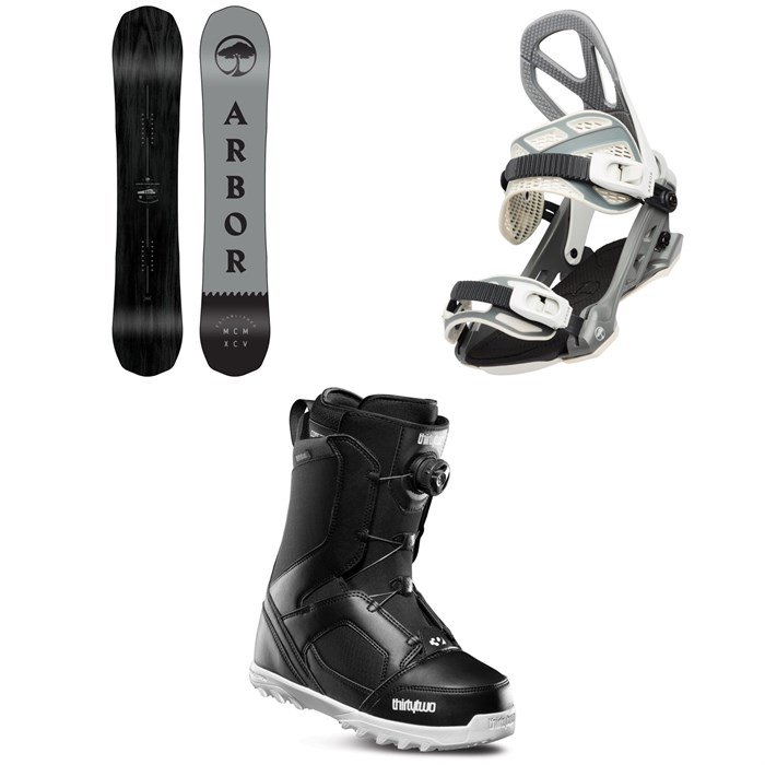 Arbor - Element Black Camber Snowboard + Arbor Hemlock Snowboard Bindings + thirtytwo STW Boa Snowboard Boots 2020