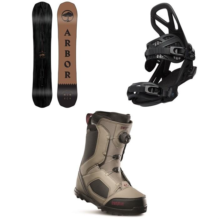 Arbor - Element Black Rocker Snowboard + Arbor Hemlock Snowboard Bindings + thirtytwo STW Boa Snowboard Boots 2020