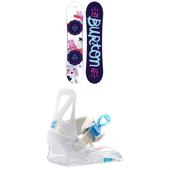 Burton - Chicklet Snowboard - Girls' + Burton Grom Snowboard Bindings - Little Kids' 2020