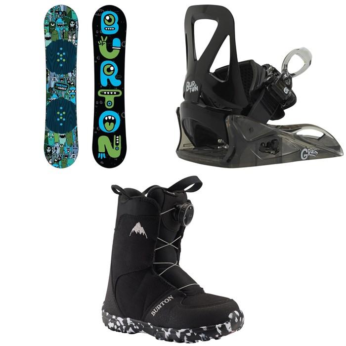 Burton - Chopper Snowboard + Grom Snowboard Bindings - Little Kids' + Grom Boa Snowboard Boots 2020
