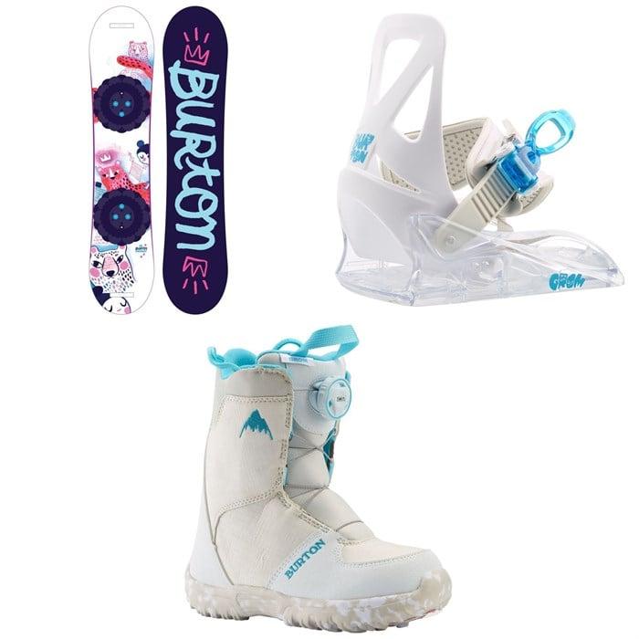 Burton - Chicklet Snowboard - Girls' + Grom Snowboard Bindings - Little Kids' + Grom Boa Snowboard Boots 2021