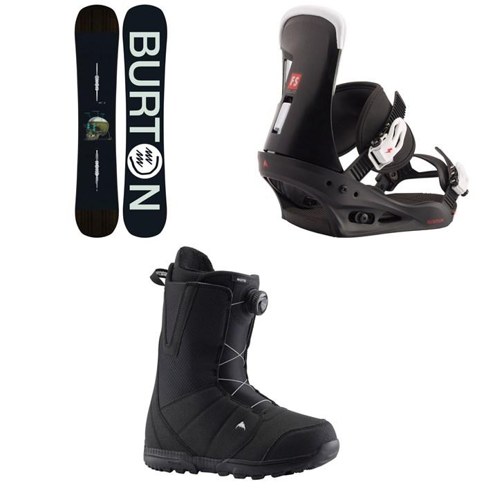 Burton - Instigator Snowboard + Freestyle Snowboard Bindings + Moto Boa Snowboard Boots 2020