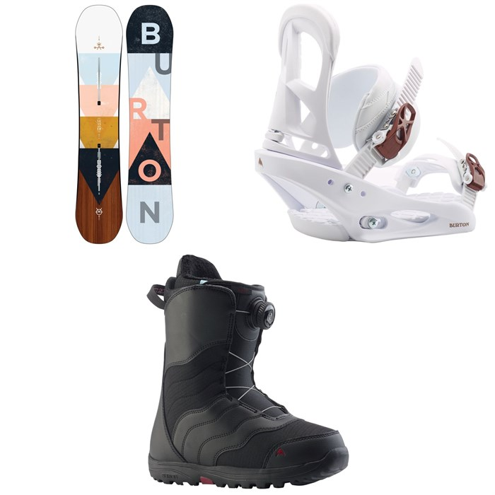 Burton - Yeasayer Snowboard - Women's + Stiletto Snowboard Bindings - Women's + Mint Boa Snowboard Boots - Women's 2020