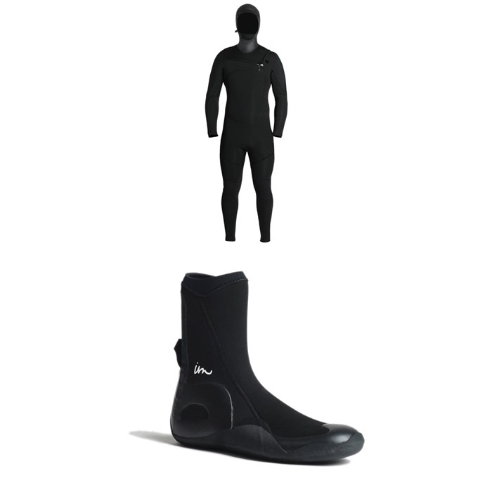 Imperial Motion - 5/4/3 Lux Deluxe Hooded Chest Zip Wetsuit + Imperial Motion 5mm Lux Round Toe Wetsuit Booties