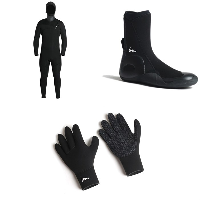 Imperial Motion - 5/4/3 Lux Deluxe Hooded Chest Zip Wetsuit + Imperial Motion 5mm Lux Round Toe Wetsuit Booties + Imperial Motion 3mm Lux Wetsuit Gloves