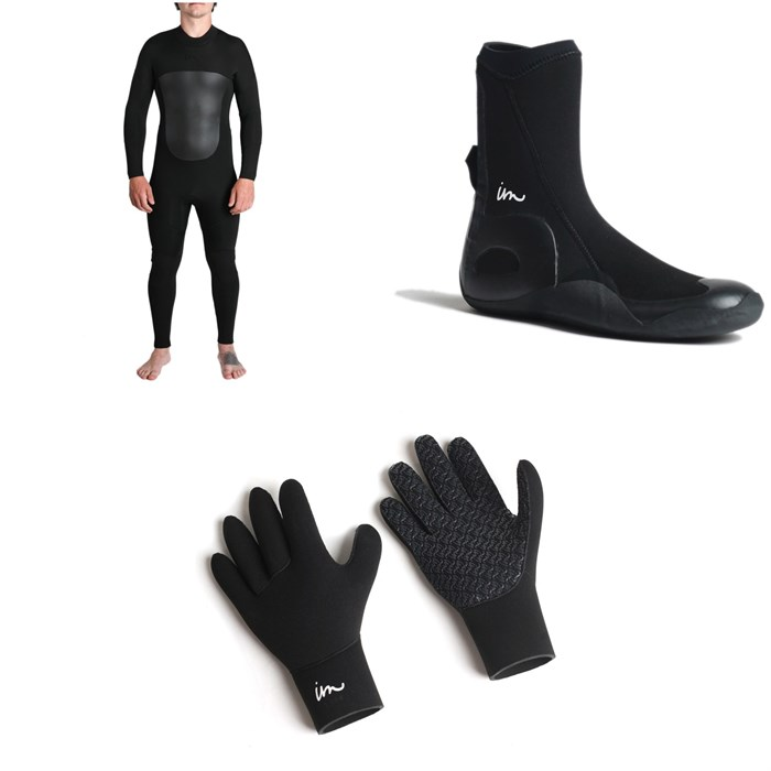 Imperial Motion - 5/4/3 Lux Deluxe Back Zip Wetsuit + Imperial Motion 5mm Lux Round Toe Wetsuit Booties + Imperial Motion 3mm Lux Wetsuit Gloves