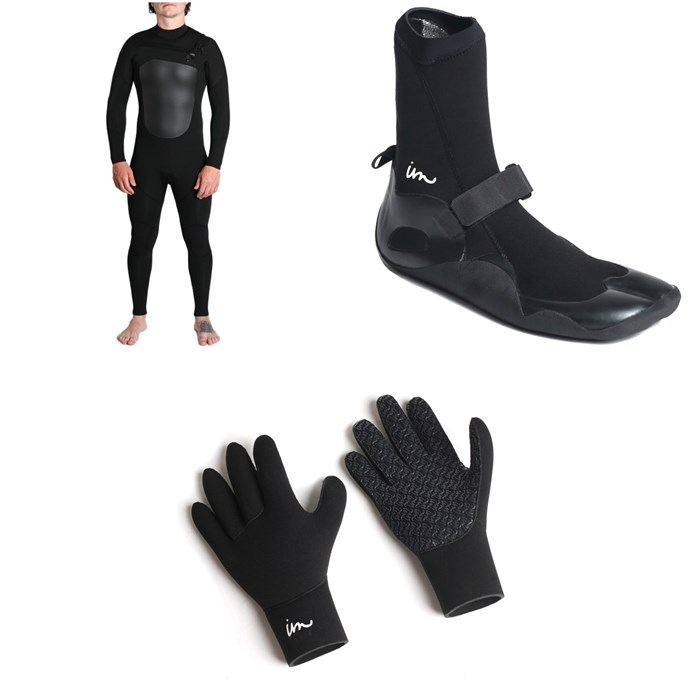 Imperial Motion - 4/3 Lux Deluxe Chest Zip Wetsuit + Imperial Motion 3mm Lux Split Toe Wetsuit Booties + Imperial Motion 3mm Lux Wetsuit Gloves