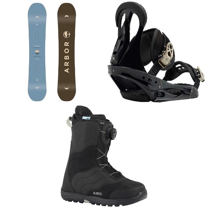 Arbor - Ethos Snowboard - Women's 2019 + Burton Citizen Snowboard Bindings - Women's 2019 + Burton Mint Boa Snowboard Boots - Women's 2018