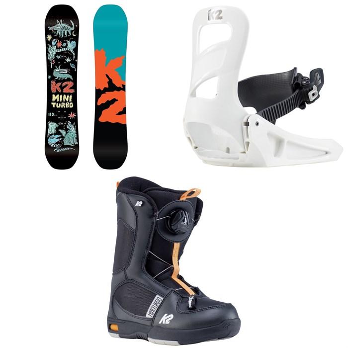 K2 - Mini Turbo Snowboard + Mini Turbo Snowboard Bindings + Mini Turbo Snowboard Boots - Little Boys' 2020