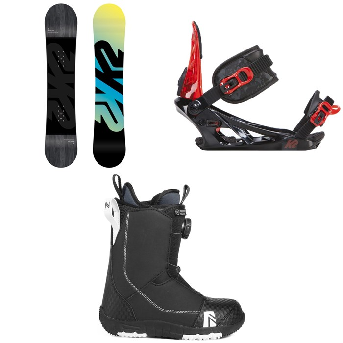 K2 - Vandal Snowboard - Boys' + K2 Vandal Snowboard Bindings - Big Boys' + Nidecker Micron Boa Snowboard Boots 2019
