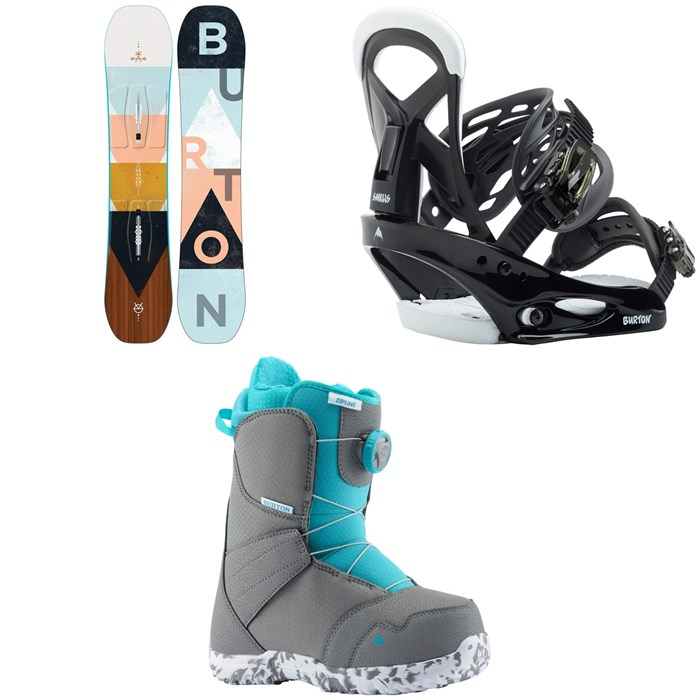 Burton - Yeasayer Smalls Snowboard - Girls' + Smalls Snowboard Bindings - Kids' + Zipline Boa Snowboard Boots - Kids' 2020