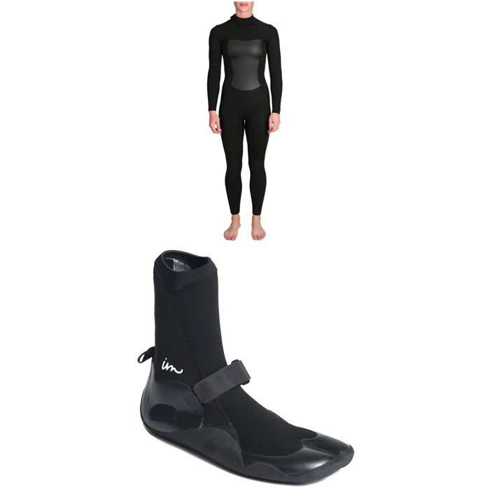 Imperial Motion - 4/3 Luxxe Deluxe Back Zip Wetsuit - Women's + Imperial Motion 3mm Lux Split Toe Wetsuit Booties