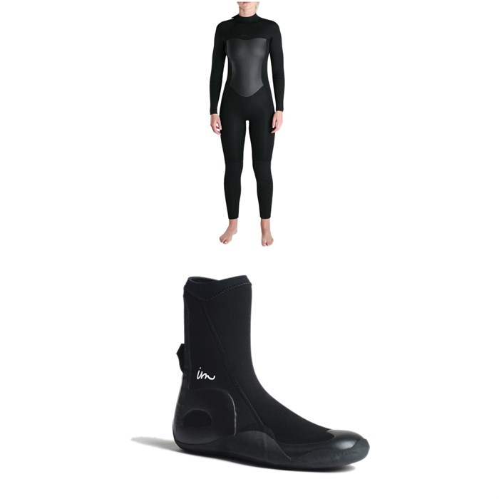 Imperial Motion - 5/4/3 Luxxe Deluxe Back Zip Wetsuit - Women's + Imperial Motion 5mm Lux Round Toe Wetsuit Booties