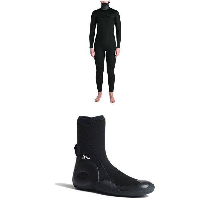 Imperial Motion - 5/4/3 Luxxe Deluxe Hooded Chest Zip Wetsuit - Women's + Imperial Motion 5mm Lux Round Toe Wetsuit Booties