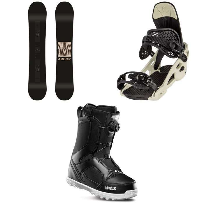 Arbor - Formula Rocker Snowboard + Arbor Spruce Snowboard Bindings + thirtytwo STW Boa Snowboard Boots 2020