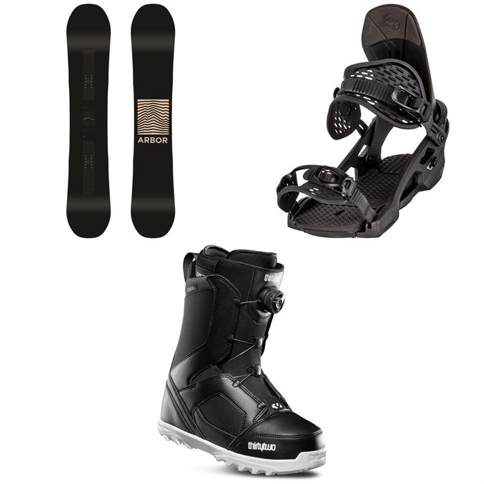 Arbor - Formula Rocker Snowboard + Arbor Spruce Snowboard Bindings + thirtytwo STW Boa Snowboard Boots 2020
