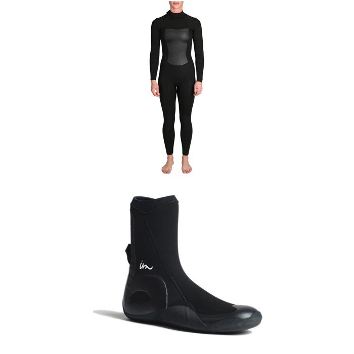 Imperial Motion - 4/3 Luxxe Deluxe Back Zip Wetsuit - Women's + Imperial Motion 5mm Lux Round Toe Wetsuit Booties