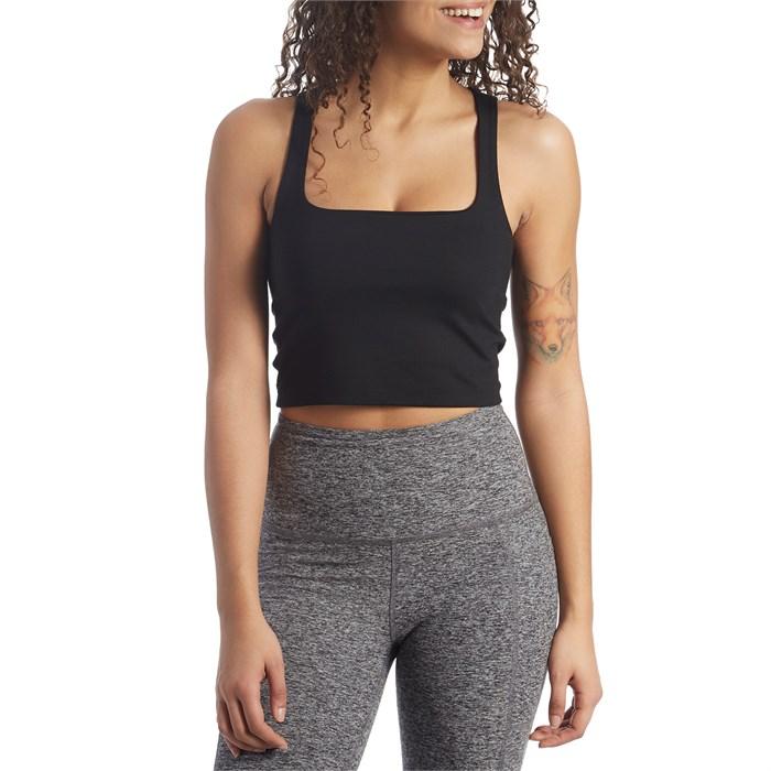 Beyond Yoga - Heather Rib Square Neck Cropped Tank - Women's