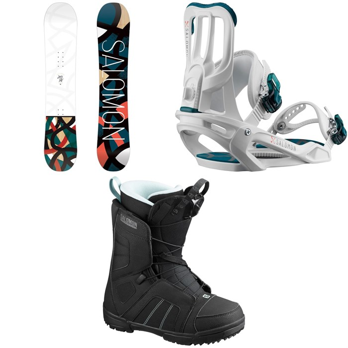 Salomon - Lotus Snowboard - Women's + Salomon Spell Snowboard Bindings - Women's + Salomon Scarlet Snowboard Boots - Women's 2020