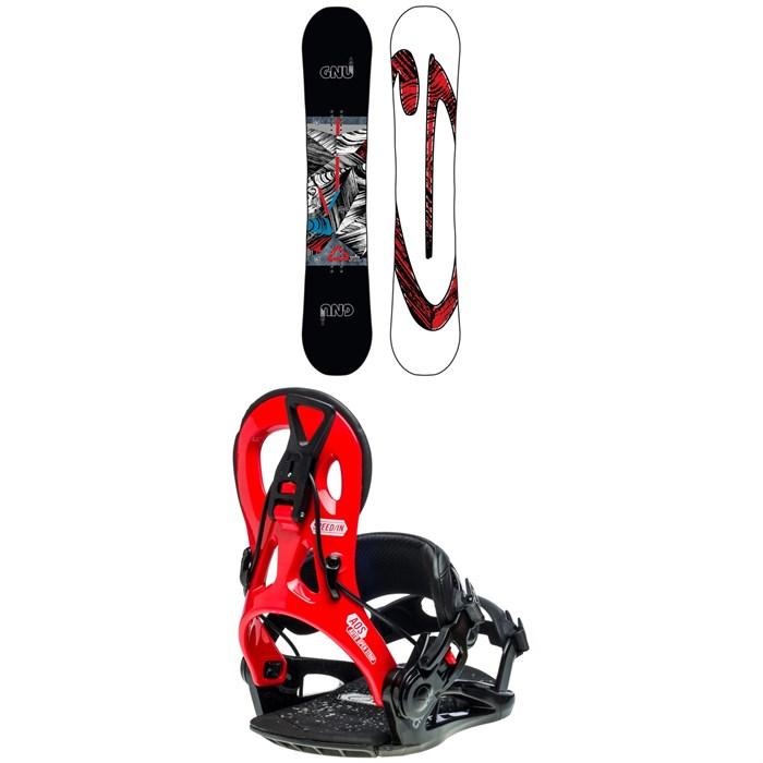 GNU - Carbon Credit Asym BTX Snowboard + GNU Cheeter Snowboard Bindings 2020